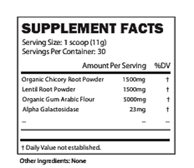 Image of the nutrition label for BlueBiology Prebiotic